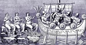 Ulysses on board a boat passes the sirens and their seductive song. Based on Homer 's ancient Greek myth.